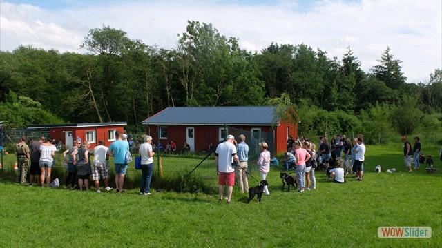 Im Hintergrund ist das neue Kleintierhaus zu sehen